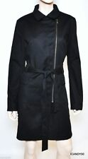 Nwt $378 Tahari HOLLAND Stretch Belted Dress Coat Jacket Parka Top Black L