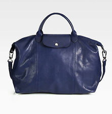 NWT LONGCHAMP Le Pliage CUIR Large Tote Leather Satchel Bag Navy Blue $640+