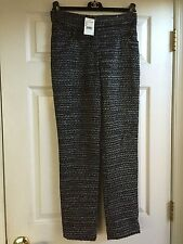 Chanel 12A NEW TAGS Tweed Woven Black Grey Silver pants Lining FR40 $2.5K