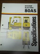 Hyster Lift Truck Brochure~Electric E80AS~Specifications~Catalog Insert 1975