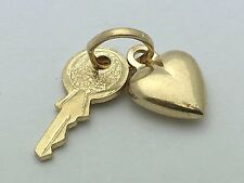 Brand New Italian 14K Yellow Gold Small Heart and Key Charm Pendant 0.4 grams