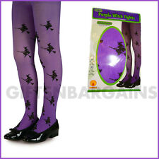 Purple Glitter Witch Halloween Tights Child Kids Girls Costume Accessory 8-12y