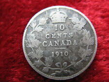 1910 Canada 10 Cent Coin, Historic SILVER Coin! .0691 oz. Fast U.S. Shipping!