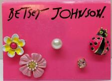Betsey Johnson Garden Party 5 Piece Lady Bug & Pink Flower & Pearl Post Earrings