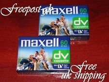 FREE UK POST- A PK OF 2 MAXELL DVM-60 MINI DV DIGITAL CAMCORDER TAPE / CASSETTES