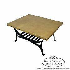 Custom Quality Spanish Style Iron Base Faux Leather Top Coffee Table