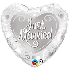 """18"""" JUST MARRIED SILVER HEART WEDDING PARTY FOIL HELIUM BALLOON 15816 qual"""