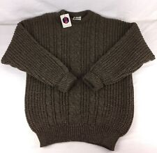 Vtg Mens Cableknit Sweater 100% Wool Brown NOS England Lakeland Knitwear Chunky