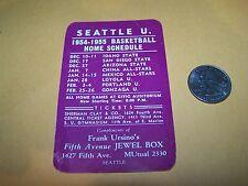 1954-55 SEATTLE U. REDHAWKS POCKET SCHEDULE COLLEGE BASKETBALL UNIVERSITY