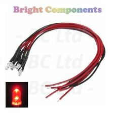5 x Pre-Wired Red LED 3mm Ultra Bright : 5V ~ 7V : 1st CLASS POST