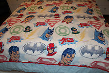 Vintage JUSTICE LEAGUE Batman / Superman / Flash TWIN SIZE FLAT SHEET ** L@@K