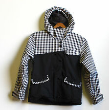 Board Dokter Snowboarding Skiing Jacket Youth Small Black & White Plaid Hood