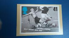 FOOTBALL LEGENDS 1996 BILLY WRIGHT POST CARD FROM STAMP DESIGNED BY HOWARD BROWN