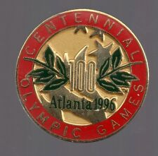 1996 Atlanta Centennial Olympic Games Logo Pin Red Gold Leaf