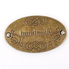 20pcs Antique Bronze Carved Handmade Charms Oval Alloy Connector Pendant BS