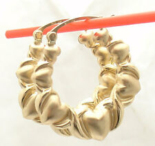 Unique 3D Graduated Hearts and Kisses Hoop Earrings REAL 10K Yellow Gold
