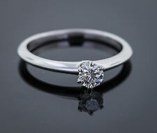 Tiffany & Co, Round Solitaire Diamond Engagement Ring, Size 6.25, Platinum, Cert