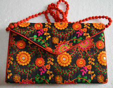 VINTAGE EMBROIDERED HANDMADE TRIBAL BOHEMIAN INDIAN CLUTCH BAG  PURSE BAG BH-77