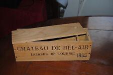 caisse bois vin vide chateau de bel-air lalande de pommerol 1985