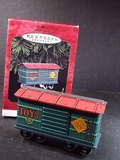 Hallmark Ornament  1997 YULETIDE CENTRAL Tin Toy Train car QX5812