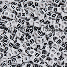 Letter B - 100pc 7mm Alphabet Beads White with Glossy Black Letters