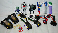 LOT OF BATMAN SUPERMAN CATWOMAN JOKER ACTION FIGURES, HELICOPTERS, PEZ TOYS
