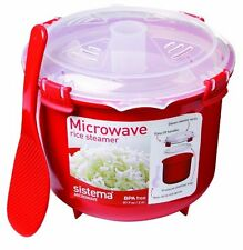Microwave Rice Steamer Quinoa Polenta Couscous Cooker Red Food Cook Non Stick UK