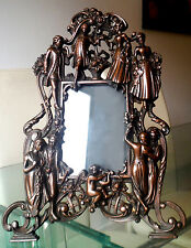 ANTIQUE BRONZE METAL FIGURAL PHOTOGRAPH FRAME-EASEL BACKED