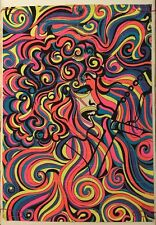 Vintage Black Light Poster Psychedelic Pin-up Guitar Singer Hippy 1960's Trippy