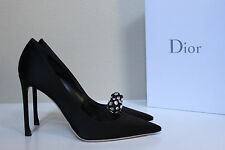 New sz 11 / 41 Christian Dior Black Satin Jeweled Pointed Toe Classic Pump Shoe