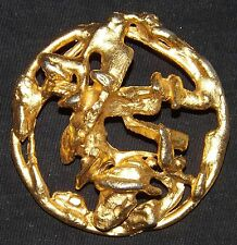 Hattie Carnegie USA Gold Washed Pin - Vines on a Limb -Abstract