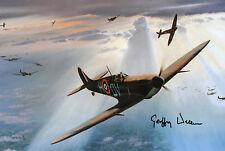 GEOFFREY WELLUM Signed 12x8 WW2 SPITFIRE PILOT Battle Of Britain FIRST LIGHT COA