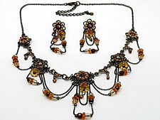9f Vintage Drape Topaz Brown Flower SwarovskiElementsCrystal Floral Necklace Set
