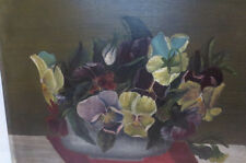 Antique VICTORIAN Sunday Artist PANSY Pansies Painting Signed Folk ART c. 1867