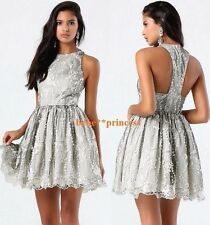 $199 NWT bebe gray silver lace embroided sequin flare top sheer dress S small 6