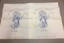 (2) Vintage HOLLY HOBBIE HOLLIE HOBBY Embroidery Sampler Panels 19x17""