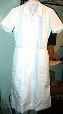 NEW Womens  Nurse Scrub Dress / Waitress Uniform sz 18  White Cotton Blend