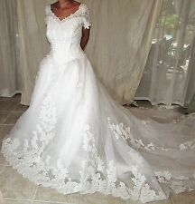 MOONLIGHT ROMANTIC PRINCESS LACE Applique  WEDDING DRESS Size 10