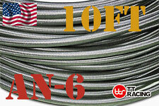 "3/8"" AN6 Stainless Steel Braided Fuel Oil Gas Line Hose -6AN 10FT"