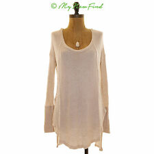 FREE PEOPLE DRIPPY THERMAL VENTURA HIGH LOW TUNIC SWEATER TOP IVORY SZ SMALL B81