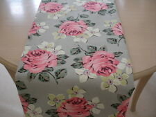 """NEW 48"""" Cotton Table Runner 120cm 4ft Cath Kidston Richmond Rose Pink Roses Grey"""