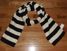 "NEW NWT J. Crew Scarf Womens 73"" Long 17"" Wide Ivory/Black Striped $54 Wool *F3"