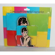 Mousemat Pad & Coaster Audrey Hepburn Pop Art ideal Gift Pack for Fan Present