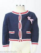 JACADI Girl's Mime Navy Blue Button Up Jersey Cardigan Age: 12 Years NWT $72