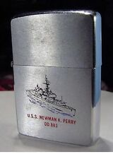 1971 USS Newman K. Perry DD 883 Ship on a Brushed Chrome Zippo NR