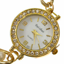 Watch Quartz Wrist Women Crystal Analogue Gold & Pearl Chain Quartz Wrist Watch