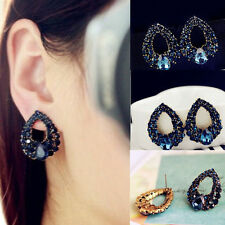 Elegant Women Full Rhinestone Hollow Out Water Drop Ear Stud Earrings