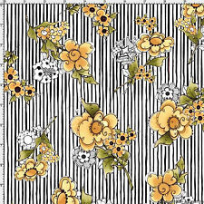 Fabric White/Black Flower Stripe 691-867 Bee Happy Loralie Designs Floral bty