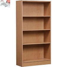 Adjustable Wood Storage Shelving Book Bookcase Wide 4 Shelf Bookshelf Oak