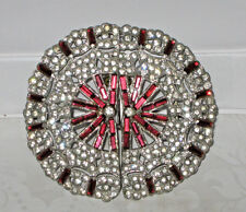 "ANTIQUE ESTATE ART DECO BELT BUCKLE RED AND CLEAR RHINESTONES 2 1/2"" WIDE EUC"